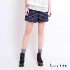 beartwo 復古高腰細格紋修飾短褲(二色)