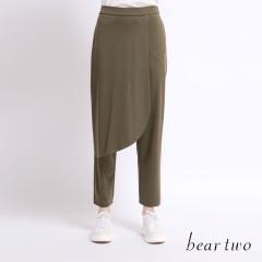 beartwo 素色前片拼接層次造型寬褲(二色)