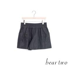 beartwo 優雅光澤緞面造型短褲(黑色)