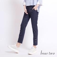 beartwo 復古中腰撞色細格紋褲(中藍)