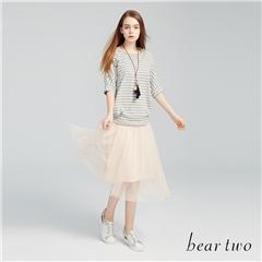 beartwo網路獨家款-連身細百摺紗裙長版洋裝(三色)