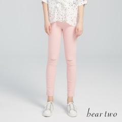 beartwo網路獨家款-彈力激瘦刷破窄管內搭褲(四色)