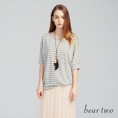 beartwo網路獨家款-圓領橫條紋休閒感七分袖上衣(二色)