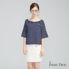 【本周主打】beartwo 網路獨家款-甜美方領荷葉七分袖上衣(二色)