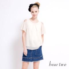beartwo 網路獨家款-愛心挖肩荷葉袖雪紡上衣(二色)