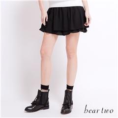 beartwo 網路獨家款-素色鬆緊彈性波浪百摺褲裙(黑色)