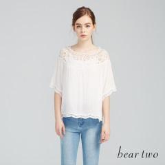 beartwo網路獨家款-緹花鏤空一字領上衣(二色)