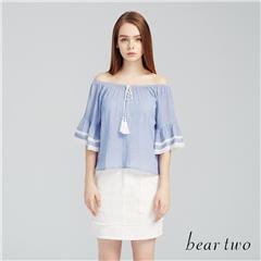 beartwo網路獨家款-蕾絲滾邊喇叭袖一字領上衣(二色)
