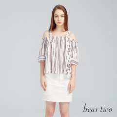 beartwo網路獨家款-清新直紋印花露肩一字領上衣(二色)