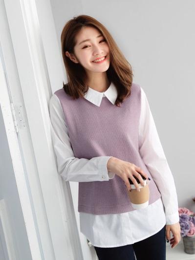 素色坑條紋拼接襯衫造型假兩件上衣.2色