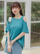 不對稱挖肩造型高棉短袖長版寬鬆上衣‧10色