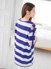 緞帶點綴挖肩設計寬橫條紋高含棉長版上衣/洋裝.2色