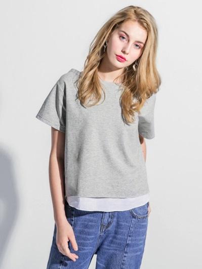 彈性親膚素色拼襯衫襬船型領寬鬆短袖上衣.2色