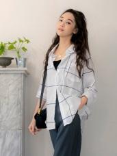 拼色透膚格紋高含棉前短後長開襟長版上衣/罩衫.2色