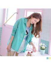 配色直條紋撞色造型前短後長襯衫.2色
