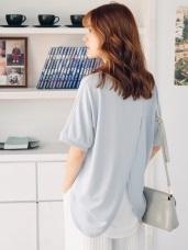 純色質感後背兩片式拼接雪紡面料圓領上衣.3色