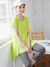 斜裁不收邊傘襬純色柔料上衣.3色