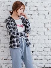 單邊口袋英倫風格紋高含棉輕磨毛襯衫.2色
