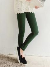 美型風潮~斜紋輕刷毛彈力貼身立體剪裁長褲