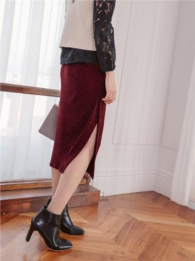 合身側開衩羅紋中長窄裙
