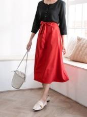 素色綁帶雙口袋中線造型A字長裙.3色