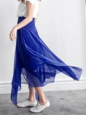 浪漫飛揚~不規則剪裁亮面感雪紡二穿式洋裝/長裙‧6色