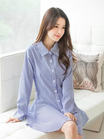 知性直條紋拼接傘襬襯衫領洋裝.2色