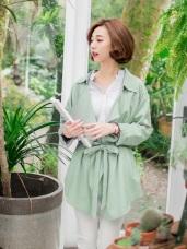 素色襯衫翻領附綁帶開襟風衣外套.3色
