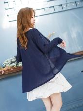 素色彈性透膚感開襟外套.12色