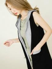 混色棉感寬鬆彈性無袖連帽開襟外套.2色
