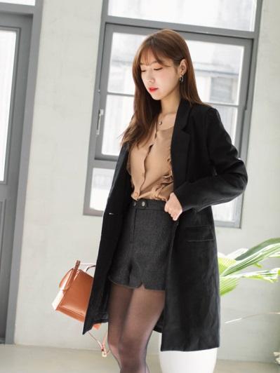 純色修身長版毛呢大衣外套