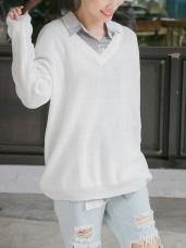 V領素色寬鬆落肩長版針織毛衣