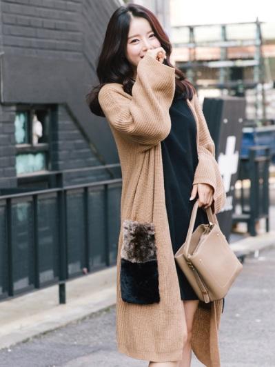 雙色拼接毛料口袋長版針織外套