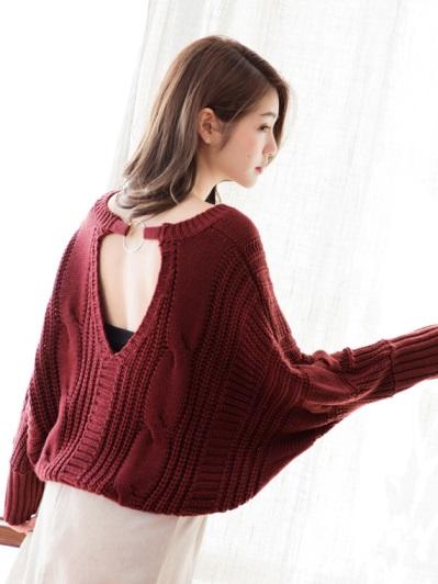 麻花編織美背設計V領針織上衣