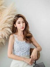 優雅美姬~鏤空蕾絲正面拼接羅紋背心‧4色