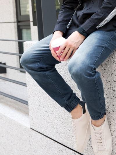 鬆緊腰頭綁帶高含棉牛仔褲