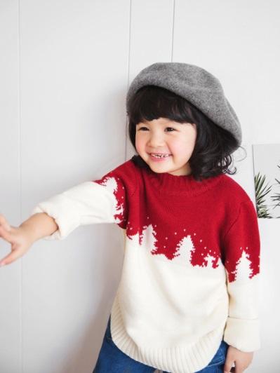 聖誕節混色圓領針織毛衣