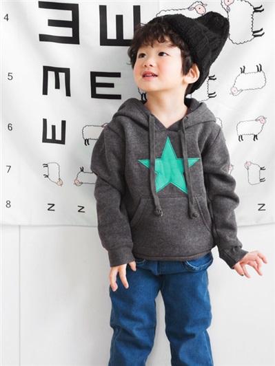 星星圖純色高含棉連帽上衣