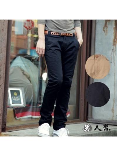 男人幫-K0372專櫃款摩登素色高磅挺版休閒長褲-韓版型男時尚