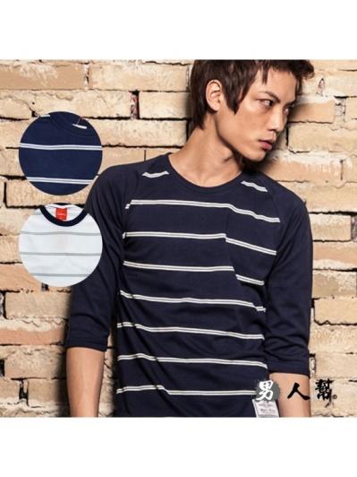 男人幫-穿搭基本款條紋七分袖T恤(T0954)