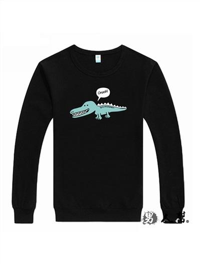 男人幫-Q版小鱷魚素面百搭長袖圓領T恤(T5829)