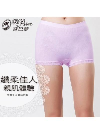 蒂巴蕾-纖柔佳人 親肌體驗 中腰平口蕾絲內褲