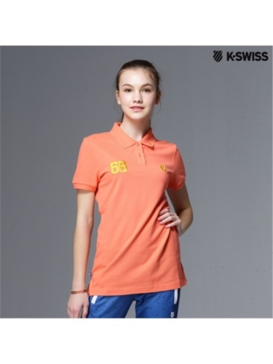 K-Swiss Solid Polo短袖Polo衫-女-橘