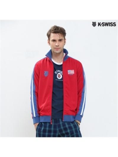 K-Swiss Zip Up Jacket運動外套-男-紅/藍