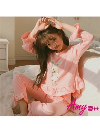 AMY愛米-日系長袖甜美粉紅兔素面睡衣(AD140)