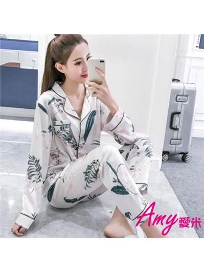 AMY愛米-韓系植物圖案長袖絲緞睡衣(AD141)