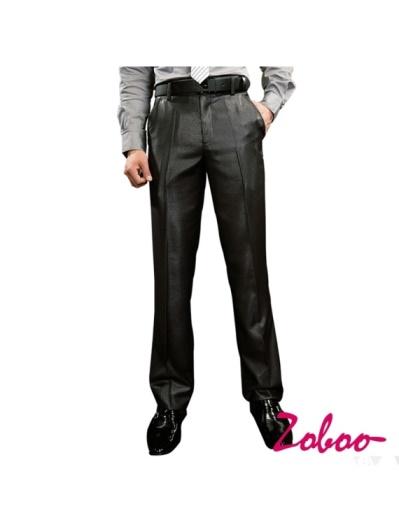 ZOBOO-獨家經典熱賣黑色素面小直筒窄版西裝褲K0414